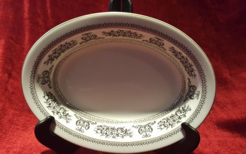"Wedgwood China Columbia Black 10"" Oval Serving Bowl"