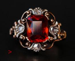 1941 Antique European Ring solid 18K Gold Silver Citrine Diamonds Ø 5US ... - $675.18