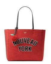 Kate Spade Nouveau York Hallie Red Wool Felt Tote Bag Handbag - $198.00