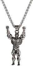 U7 Masculine Men Necklace Stainless Steel Bodybuilder Pendant And Chain Gym - $31.65