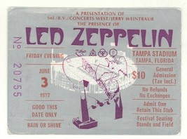 "COOL Led Zeppelin 6/3/77 Tampa Stadium ""RIOT"" Ticket Stub! GREAT Condition! - $197.99"