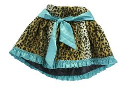 5 Authentic Trish Scully Leopard Faux Fur Skirt Teal Satin Trim Fleur De Lis Top image 2