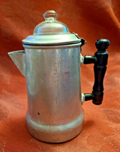 "Antique 1920'S Viko Aluminum Coffee Pot W/ Wooden Handle 6"" Tall image 1"