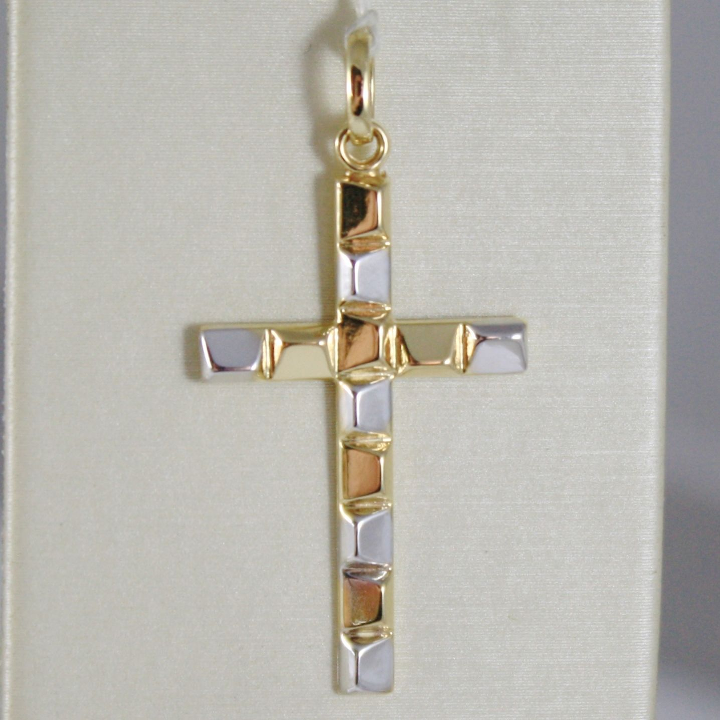 CROSS PENDANT YELLOW GOLD WHITE 750 18K, ALTERNATING, LUCIDA, MADE IN ITALY