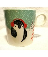 STARBUCKS Coffee Cup Mug CHRISTMAS PENGUIN WITH RED HEADPHONES 10 Ounce ... - $9.95
