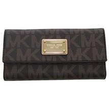 Michael Kors Checkbook Wallet Leather Brown 100 % Authentic For Women Un... - $140.30