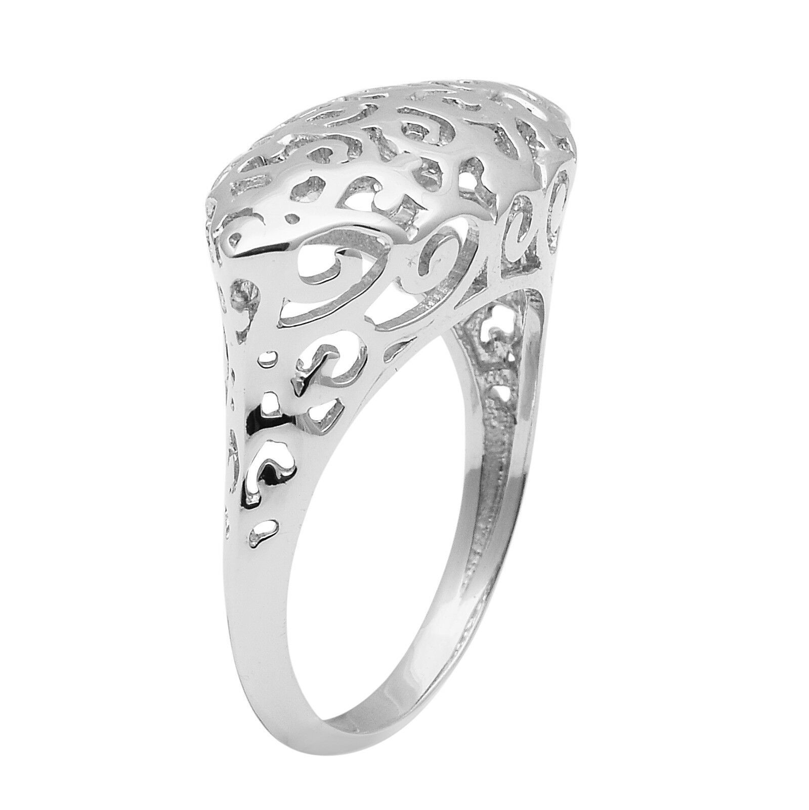 Marquise Shape 925 Sterling Silver Without Stone Celtic Knot Women Dome Bar Ring