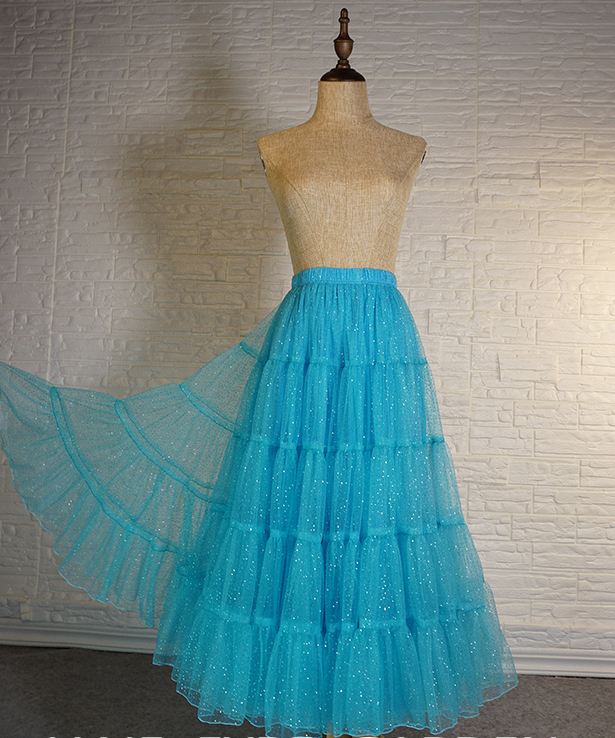 Blue Glitter Maxi Tulle Skirt Outfit Tiered Sparkle Tulle Skirt A-line Plus Size