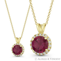 Faux Ruby Red & Clear Round Cut CZ Crystal Solid 14k Yellow Gold 12x8mm ... - $48.25+