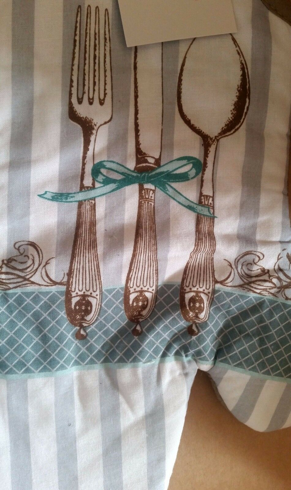 """Fabric Printed 12"""" Jumbo Oven Mitt, SILVERWARE in BOW, SPOON, FORK, KNIFE by AM"""