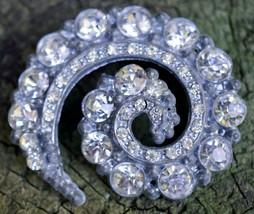 Vintage Unique Spiral Shaped Rhinestone Pin / Brooch - $25.99
