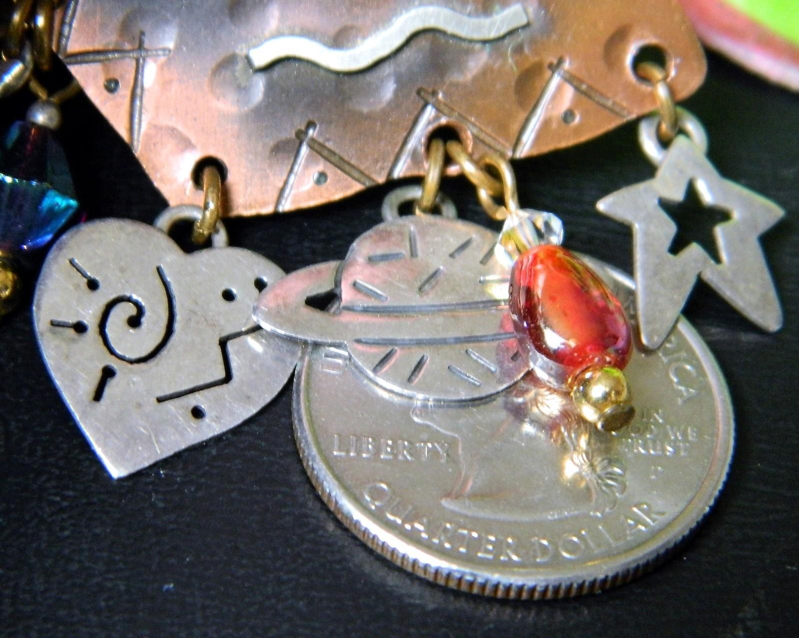 Vintage Mixed Metal Copper Silver Cobre Mexico Brooch Pin Star Moon
