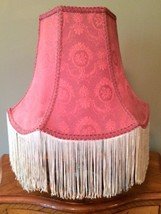 Vintage Victorian Lamp Shade Rose Pink Damask Cream Fringe 12 inches Tall - $138.59