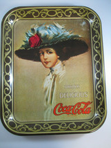 Coca-Cola Vintage 1950s Metalix Hamilton King Girl Tray with Brown Border - $17.33