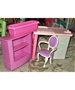 Barbie Desk, Chair, Bookcase & flower pot - $10.00