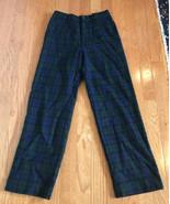 J.Crew Crewcuts Navy Green Tartan Plaid Wool lined Pants Size 9 black watch - $19.77