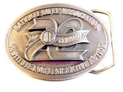 Vintage 20th Aniversario NRA Institute para Legislative Action Cinturón Buckle - $47.50
