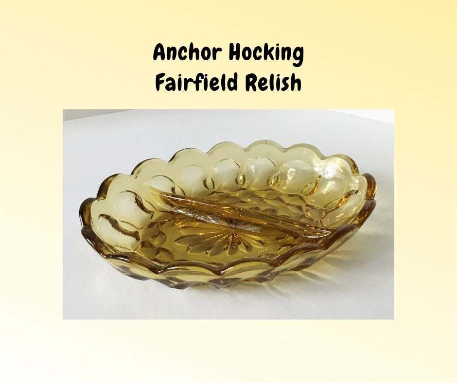 Primary image for Vintage Fairfield Divided Relish Amber Yellow Gold – Anchor Hocking Serving Dish