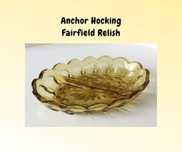 Vintage Fairfield Divided Relish Amber Yellow Gold – Anchor Hocking Serv... - $8.00