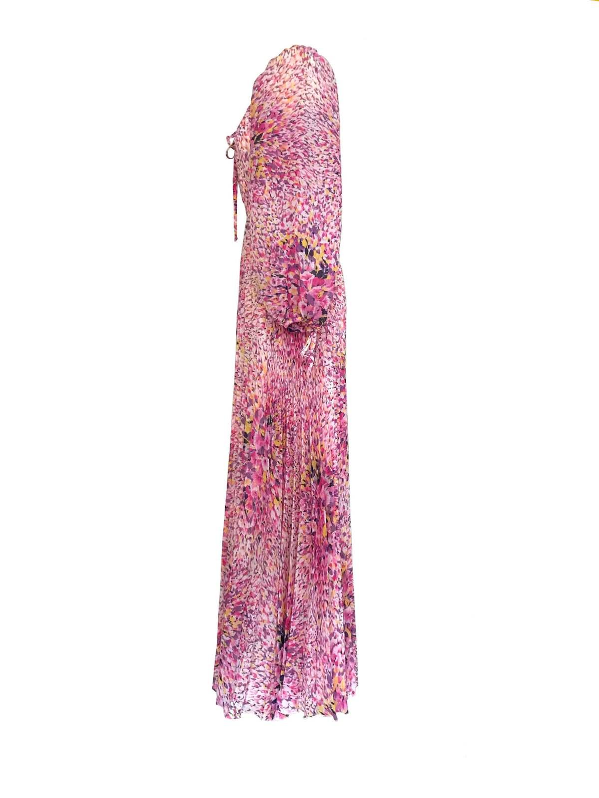 70s Vera Mont Paris Pink Purple Yellow Abstract Print Pleated Boho Maxi Dress