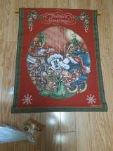 Disney Seasons Greeting Mickey and Minnie Mouse Tapestry Cloth Wall Hanging - $59.35