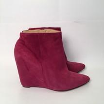 Cole Haan Nike Air Verdi Hot Pink Suede Wedge Bootie Size 8B - $58.04