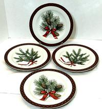 Sakura Holiday Greens Stoneware Salad / Dessert Plate Set 4 Green Red Plaid Rim - $23.22