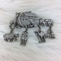 Vintage 1980's JJ Jonette Noah's Ark Pewter Two by Two Animals Charms Br... - $9.50