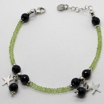 925 STERLING SILVER BRACELET GREEN PERIDOT FACETED BLACK ONYX PENDANT FLAT STARS image 1