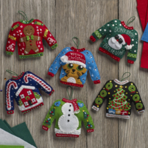 Bucilla 'Ugly Sweaters' Felt Christmas Ornament Stitchery Kit, 86674, Se... - $26.99