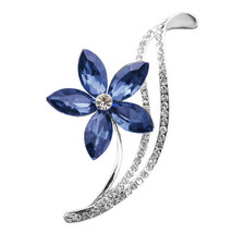 Flower Blue Rhinestone Brooch Pin - $5.99