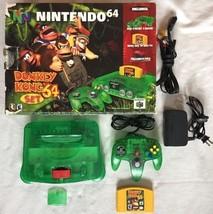 ☆ Nintendo 64 Jungle Green Console Donkey Kong Bundle in Box N64 Game Lot ☆ - $295.00