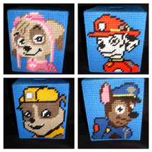 Plastic Canvas Paw Patrol Tissue Box Cover - $15.00
