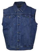 Wacky Jeans Men's Classic Premium Cotton Button Up Denim Jean Vest Blue image 1