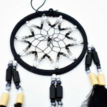"""Handcrafted Miniature 9"""" Dreamcatcher Plastic & Wood Beads w Black Feathers  image 3"""