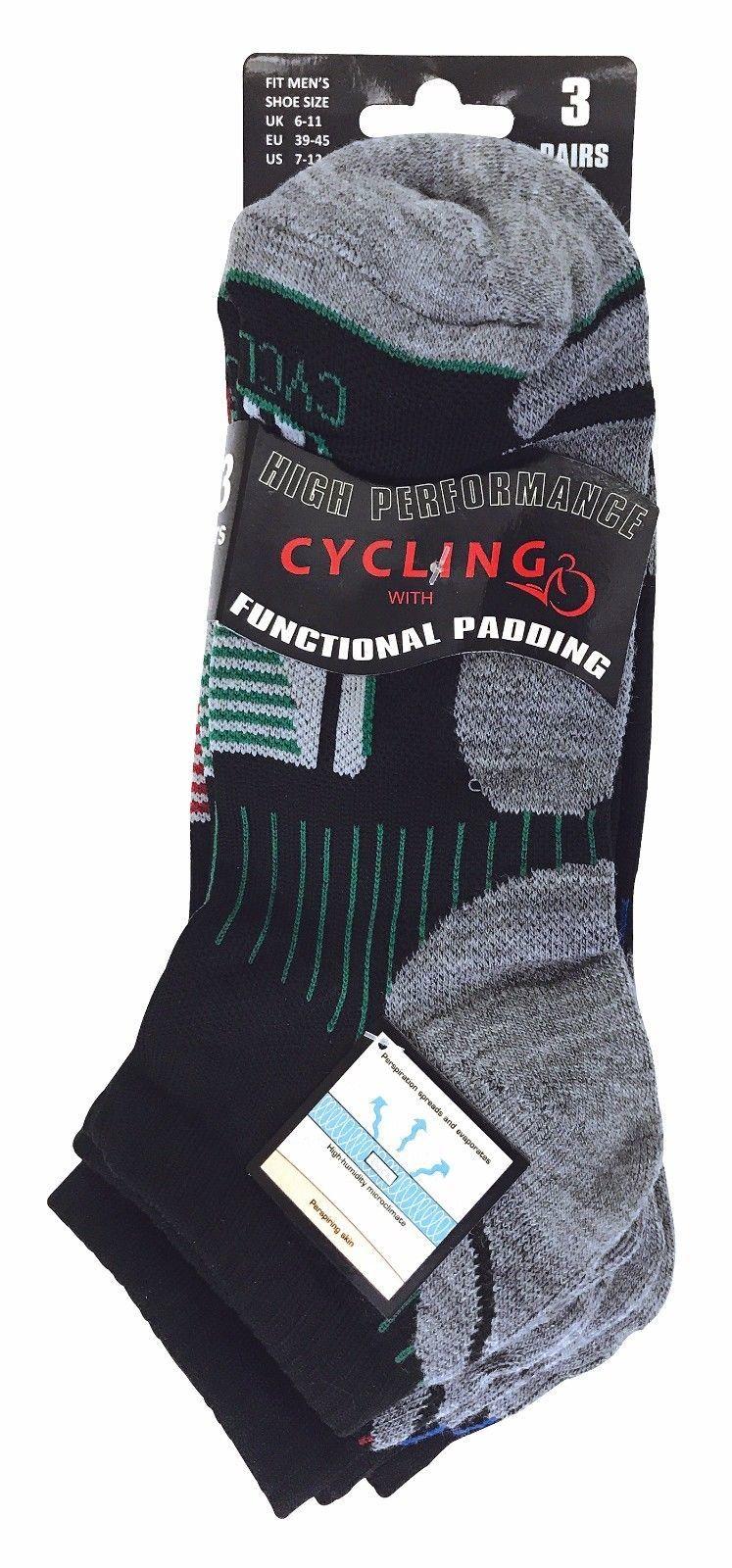 3 Paires Femme Cyclistes Courtes Basses Anti Ampoules Sport Cyclisme Chaussettes