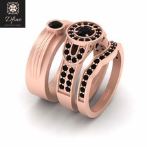 Solid 18k Rose Gold Onyx Black Halo 3Pc Engagement Ring Band Set Promise Rings - $5,159.99