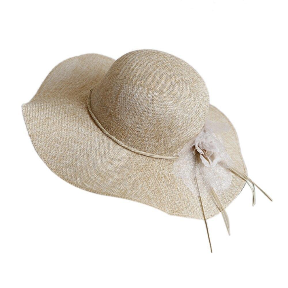 Floral Straw Sun Hats Summer Women Wide Brim Bow Outdoor Beach Sun Caps Floppy C image 6