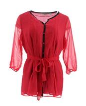 Liz Claiborne NY Trim 3/4 Slv Printed Tunic Tie Waist Wild Berry 16 NEW A257194 - $30.67