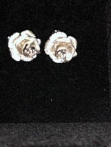 Vintage Signed Lewis Segal California Silvertone Rose Clip On Earrings - $7.91