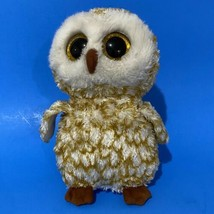 "Ty Beanie Boos Swoops Owl Bird 9"" Beanbag Plush Gold Glitter Big Eyes Kids Toy - $11.30"