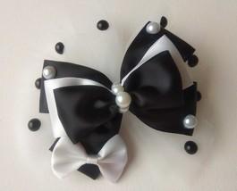 "NEW ""Black & White Ribbon Bow Pearl Organza Combo"" Hairclip Barrette Acc... - $8.90"