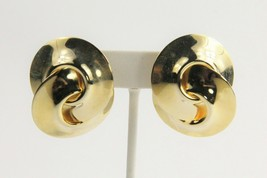 ESTATE VINTAGE 80's HUGE 3D HIGH END GLOSSY GOLD KNOT STATEMENT EARRINGS - $10.00