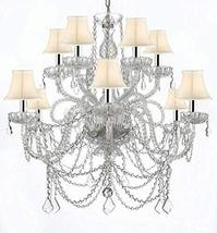 Murano Venetian Style All-Crystal Chandelier with White Shades W/Chrome ... - $390.03