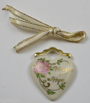 Primary image for Longaberger Pottery Horizon Of Hope Tie-On Collectible Accessory Heart Pink Rose