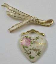 Longaberger Pottery Horizon Of Hope Tie-On Collectible Accessory Heart P... - $11.99