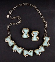 Vintage Faux Turquoise Pearl Necklace Earrings Demi Set - $24.74