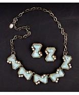 Vintage Faux Turquoise Pearl Necklace Earrings Demi Set - $24.74