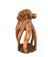 Large Hand Carved Sculpture Mahogany Wood Octopus Carving Art, Tropical Nautical - $24.69