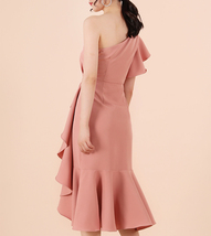 Blush Pink One Shoulder Midi Dress Blush Wedding Bridesmaid Chiffon Dress A Line image 3